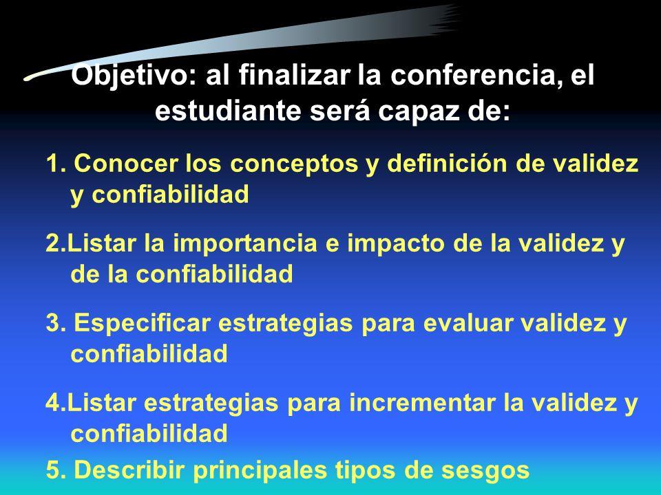 Puntos importantes Es atribuido a: –Aspectos metodológicos del diseño del estudio o análisis –Selección de sujeto –Calidad de la información obtenida –Confusión –Modificación de efecto (interacción) –Misclasificación