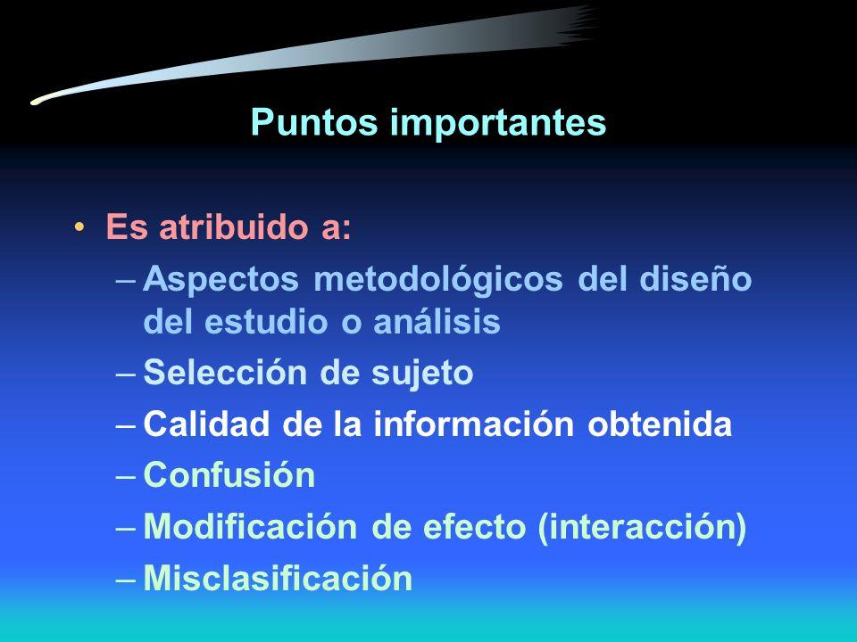 Puntos importantes Seguridad es una función de ERROR SISTEMÁTICO VIP influencia la validez interna y externa del estudio A mayor error sistemático, me