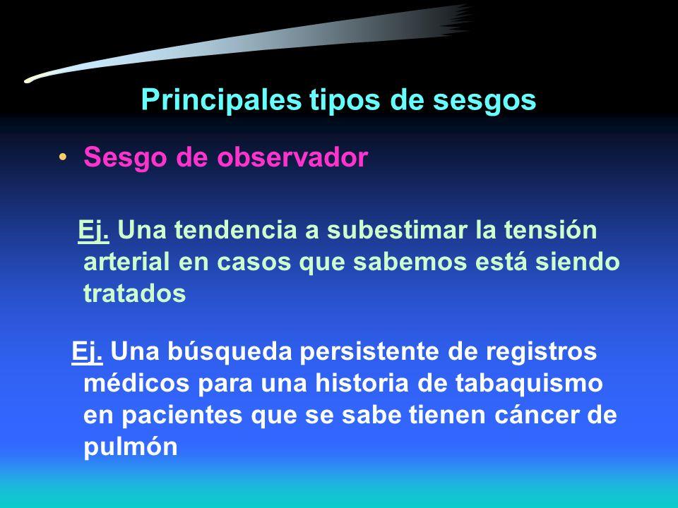 Principales tipos de sesgos Sesgo del observador distorsión consistente en el reporte de la medición por el observador - Mediciones más intensivas en