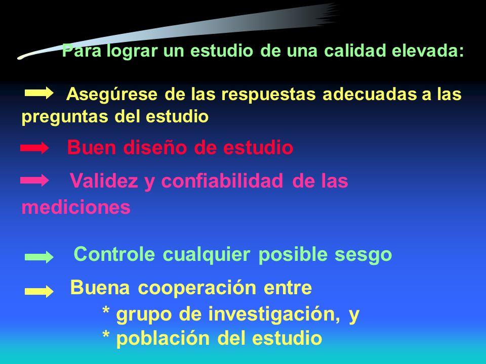 Principales tipos de sesgos Sesgo de observador Sesgo del sujeto Sesgo instrumental Sesgo de información Sesgo de selección