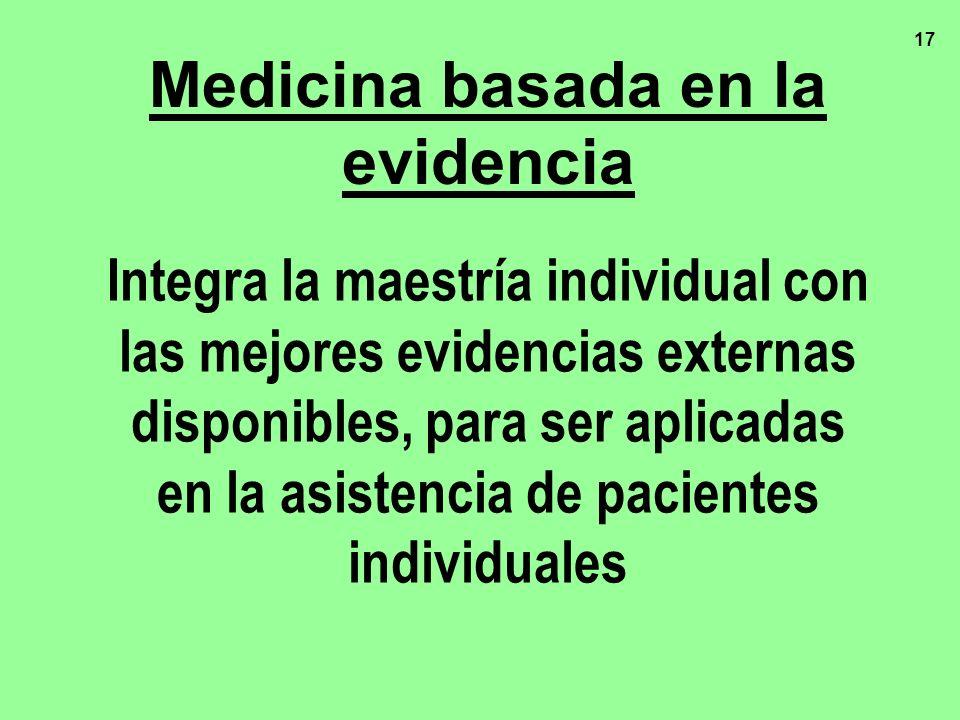 17 Medicina basada en la evidencia Integra la maestría individual con las mejores evidencias externas disponibles, para ser aplicadas en la asistencia