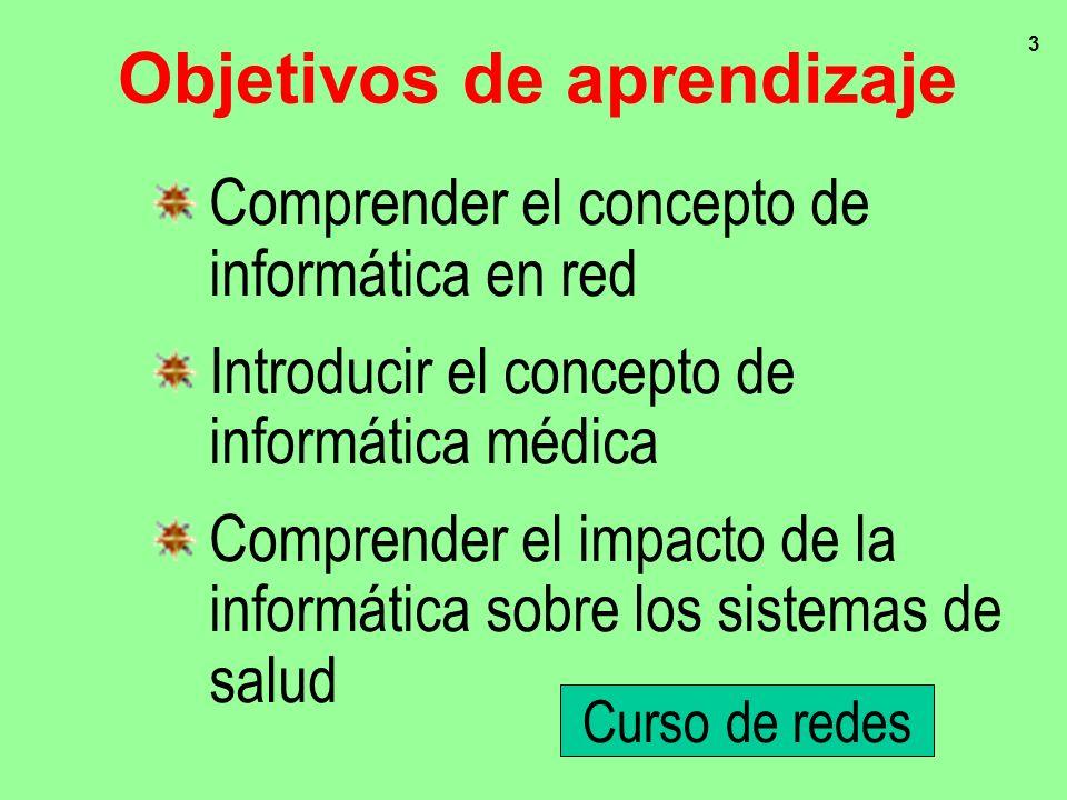 3 Objetivos de aprendizaje Comprender el concepto de informática en red Introducir el concepto de informática médica Comprender el impacto de la infor