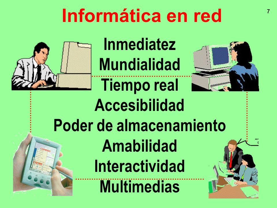7 Inmediatez Mundialidad Tiempo real Accesibilidad Poder de almacenamiento Amabilidad Interactividad Multimedias Informática en red