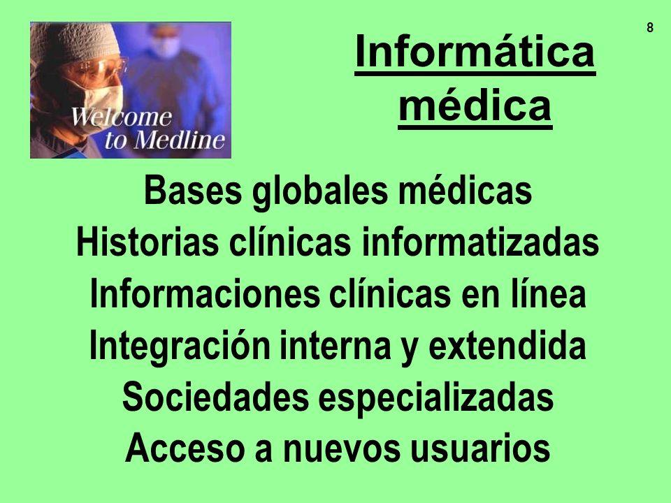 8 Bases globales médicas Historias clínicas informatizadas Informaciones clínicas en línea Integración interna y extendida Sociedades especializadas A