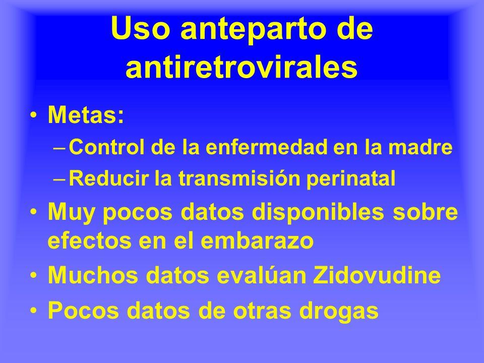 Uso anteparto de antiretrovirales Metas: –Control de la enfermedad en la madre –Reducir la transmisión perinatal Muy pocos datos disponibles sobre efe