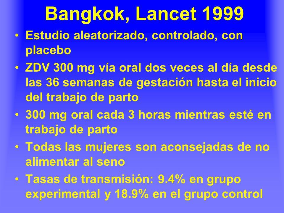 Bangkok, Lancet 1999 Estudio aleatorizado, controlado, con placebo ZDV 300 mg vía oral dos veces al día desde las 36 semanas de gestación hasta el inicio del trabajo de parto 300 mg oral cada 3 horas mientras esté en trabajo de parto Todas las mujeres son aconsejadas de no alimentar al seno Tasas de transmisión: 9.4% en grupo experimental y 18.9% en el grupo control