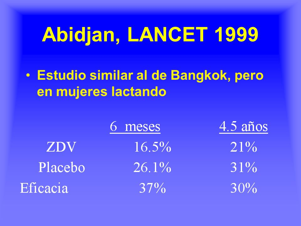 Abidjan, LANCET 1999 Estudio similar al de Bangkok, pero en mujeres lactando