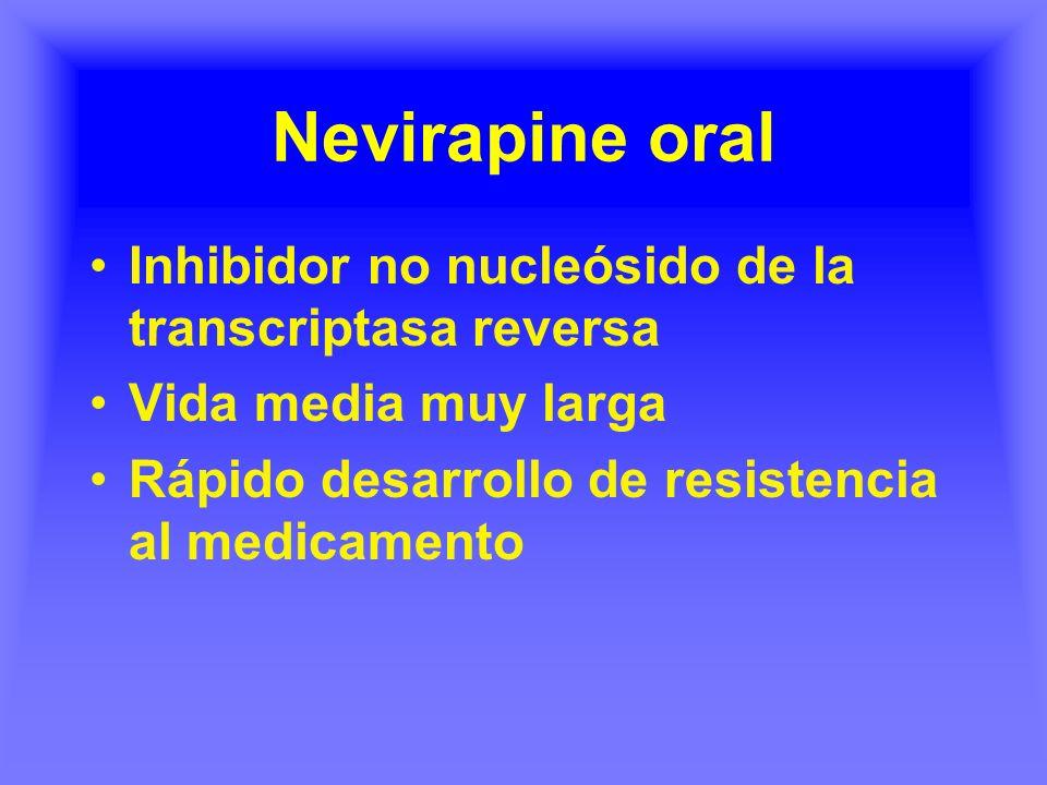 Nevirapine oral Inhibidor no nucleósido de la transcriptasa reversa Vida media muy larga Rápido desarrollo de resistencia al medicamento