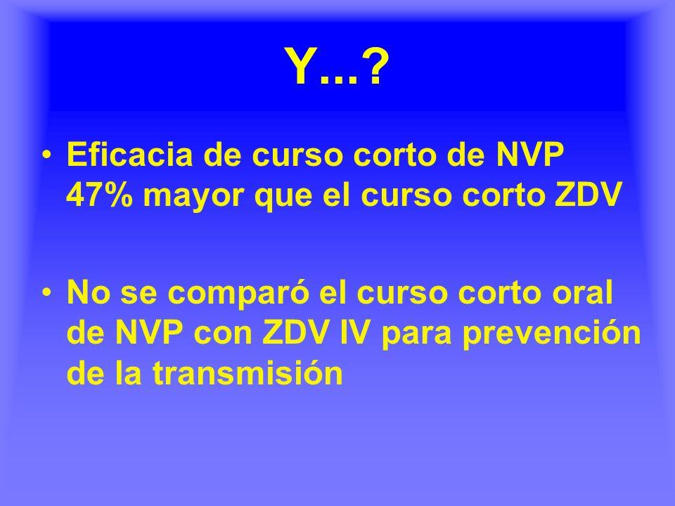 Y...? Eficacia de curso corto de NVP 47% mayor que el curso corto ZDV No se comparó el curso corto oral de NVP con ZDV IV para prevención de la transm