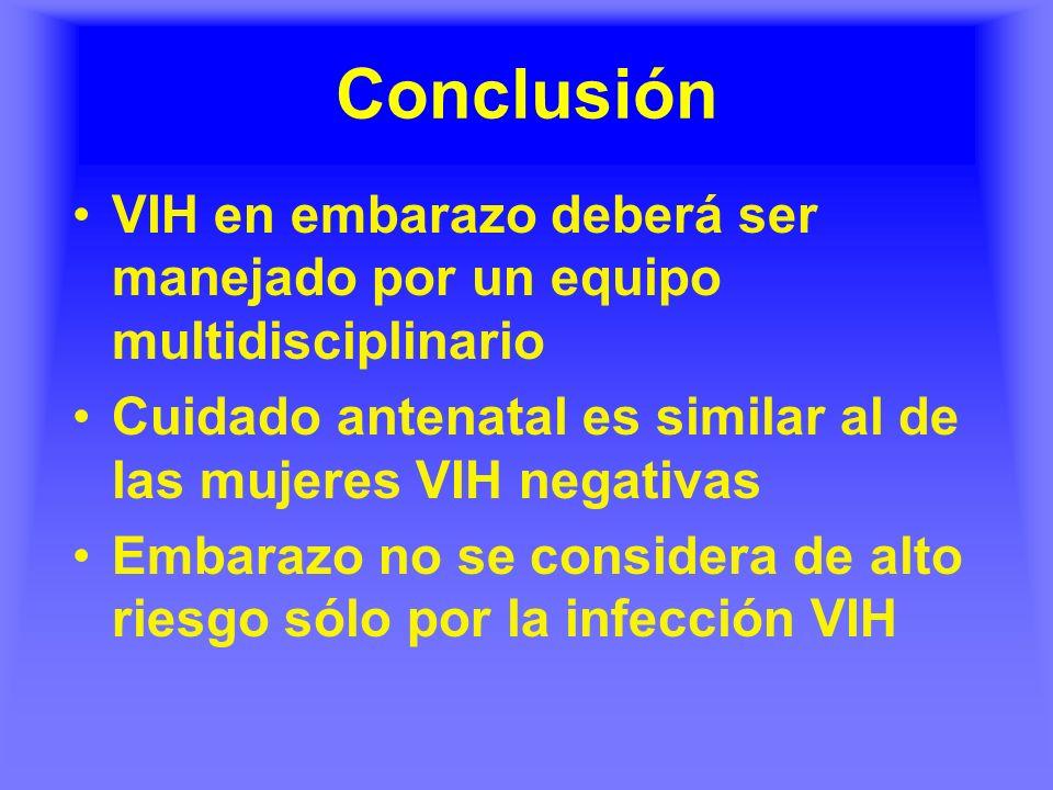 Conclusión VIH en embarazo deberá ser manejado por un equipo multidisciplinario Cuidado antenatal es similar al de las mujeres VIH negativas Embarazo no se considera de alto riesgo sólo por la infección VIH
