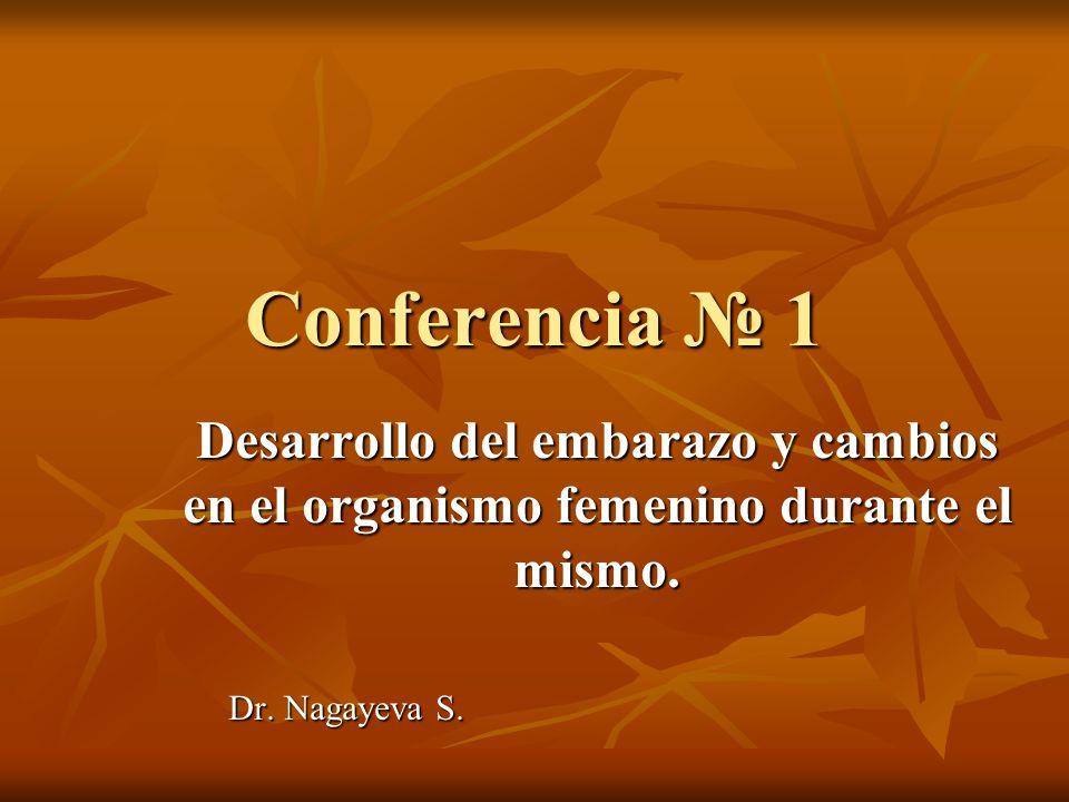 Conferencia 1 Desarrollo del embarazo y cambios en el organismo femenino durante el mismo. Dr. Nagayeva S. Dr. Nagayeva S.