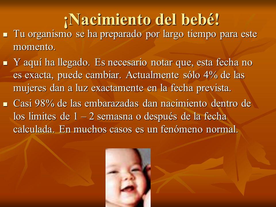 ¡Nacimiento del bebé! ¡Nacimiento del bebé! Tu organismo se ha preparado por largo tiempo para este momento. Tu organismo se ha preparado por largo ti