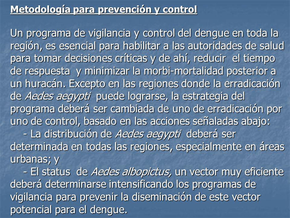 Metodología para prevención y control Un programa de vigilancia y control del dengue en toda la región, es esencial para habilitar a las autoridades d