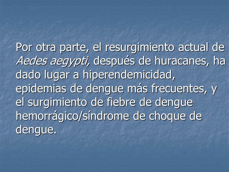 En consecuencia, el principal objetivo de este estudio, fue identificar y analizar los factores dominantes que influyen en el resurgimiento de fiebre de dengue después de desastres naturales como los huracanes.