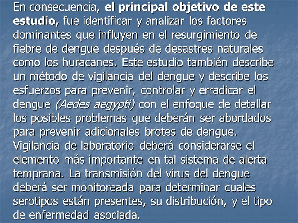 Los virus del dengue consiste en un subgrupo de cuatro antígenos estrechamente relacionados, pero distintos que se pueden distinguir por métodos serológicos y se designan como DEN-1, DEN-2, DEN-3 y DEN-4, que pertenecen al género Flavivirus, la familia Flaviviridae.