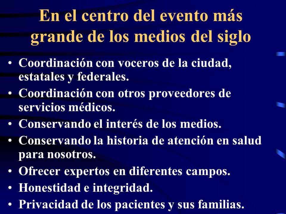 Coordinación con voceros de la ciudad, estatales y federales.