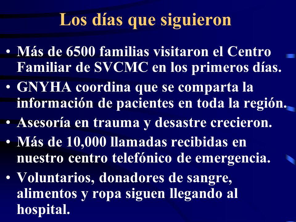 Los días que siguieron Más de 6500 familias visitaron el Centro Familiar de SVCMC en los primeros días.