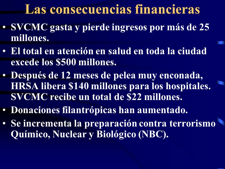 Las consecuencias financieras SVCMC gasta y pierde ingresos por más de 25 millones.