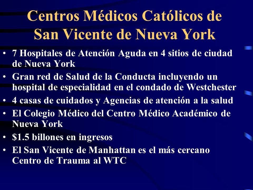 Centros Médicos Católicos de San Vicente de Nueva York 7 Hospitales de Atención Aguda en 4 sitios de ciudad de Nueva York Gran red de Salud de la Conducta incluyendo un hospital de especialidad en el condado de Westchester 4 casas de cuidados y Agencias de atención a la salud El Colegio Médico del Centro Médico Académico de Nueva York $1.5 billones en ingresos El San Vicente de Manhattan es el más cercano Centro de Trauma al WTC