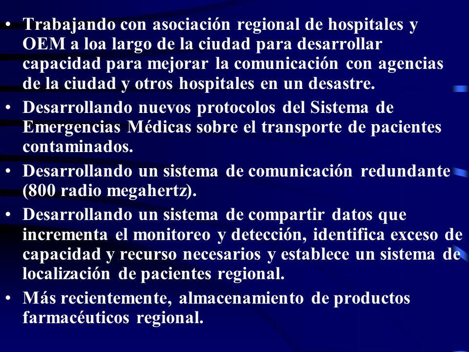 Trabajando con asociación regional de hospitales y OEM a loa largo de la ciudad para desarrollar capacidad para mejorar la comunicación con agencias de la ciudad y otros hospitales en un desastre.