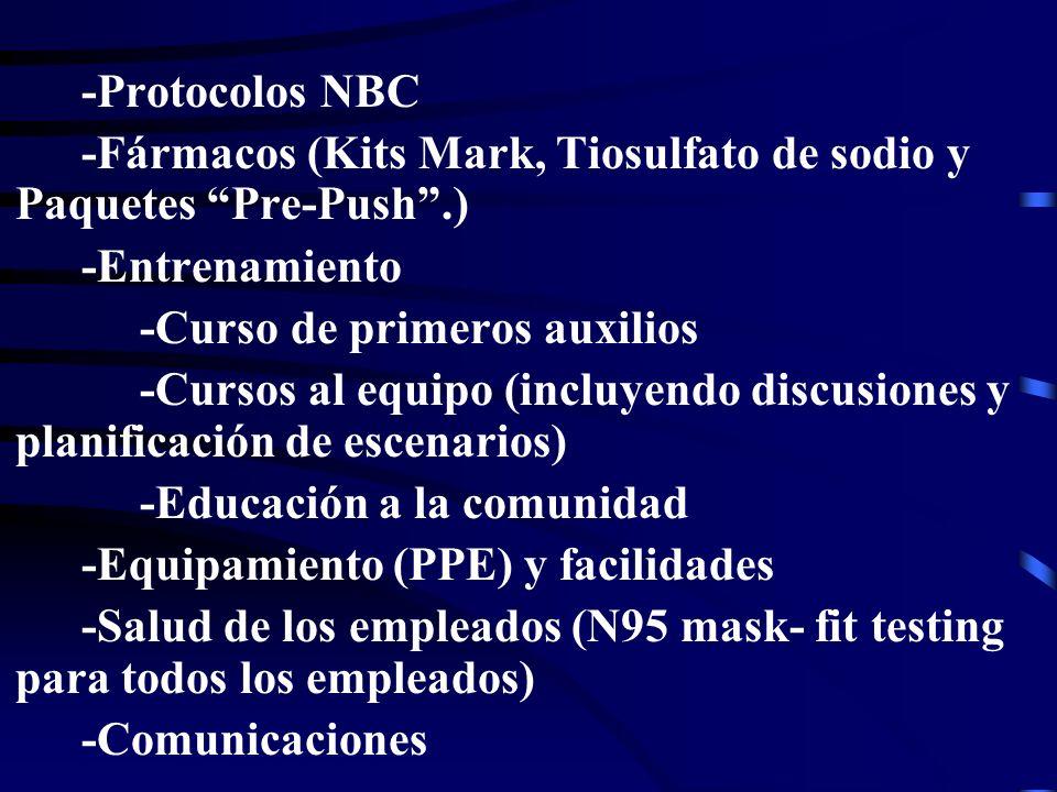 -Protocolos NBC -Fármacos (Kits Mark, Tiosulfato de sodio y Paquetes Pre-Push.) -Entrenamiento -Curso de primeros auxilios -Cursos al equipo (incluyendo discusiones y planificación de escenarios) -Educación a la comunidad -Equipamiento (PPE) y facilidades -Salud de los empleados (N95 mask- fit testing para todos los empleados) -Comunicaciones