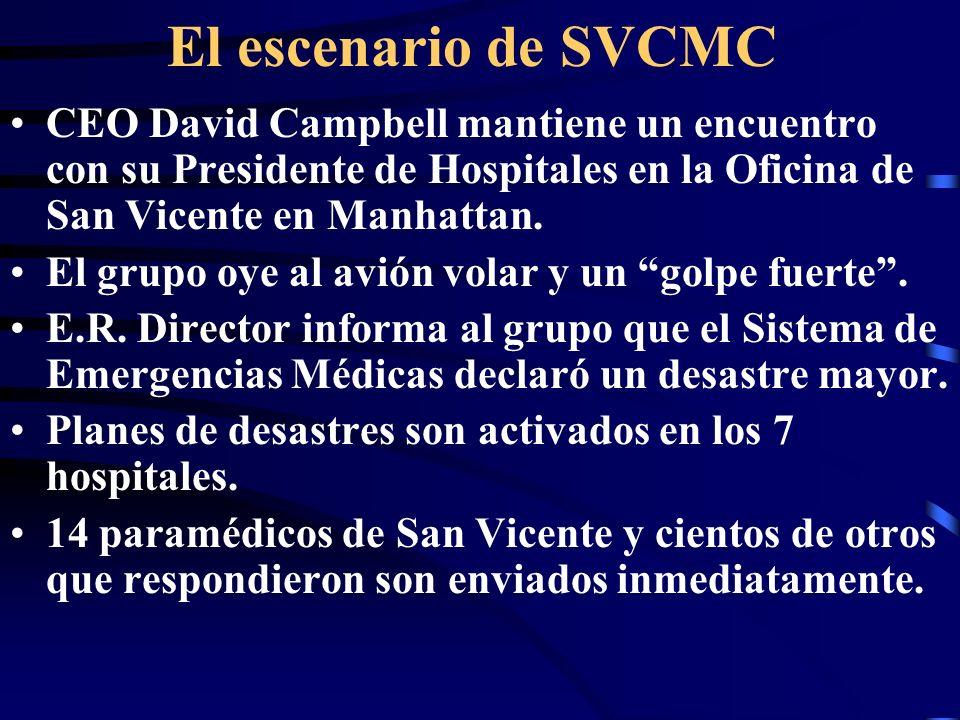 El escenario de SVCMC CEO David Campbell mantiene un encuentro con su Presidente de Hospitales en la Oficina de San Vicente en Manhattan.