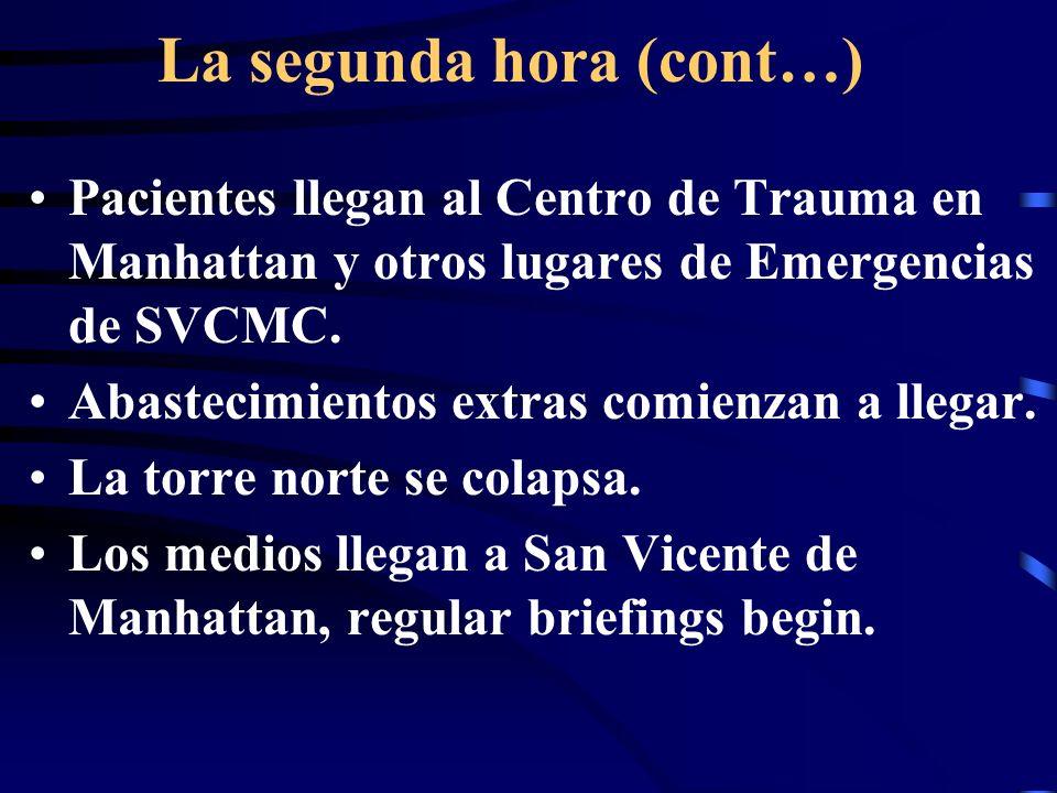 La segunda hora (cont…) Pacientes llegan al Centro de Trauma en Manhattan y otros lugares de Emergencias de SVCMC.