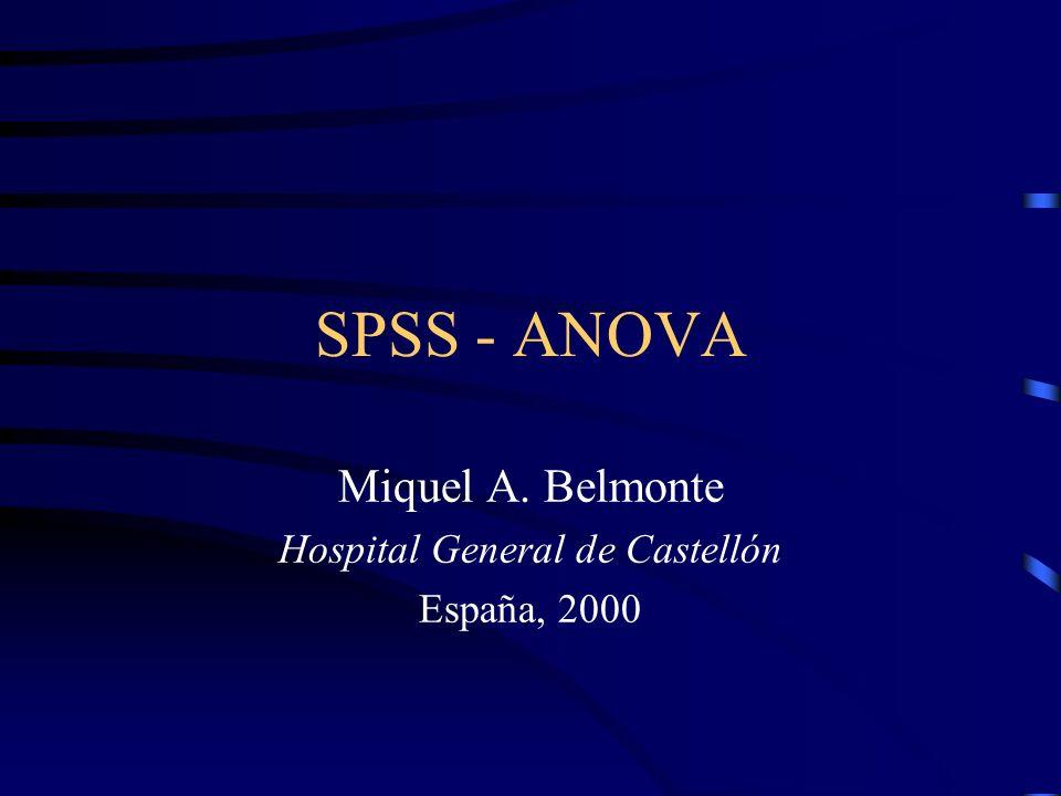 SPSS - ANOVA Miquel A. Belmonte Hospital General de Castellón España, 2000