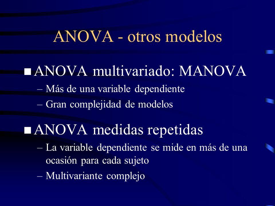 ANOVA - otros modelos n ANOVA multivariado: MANOVA –Más de una variable dependiente –Gran complejidad de modelos n ANOVA medidas repetidas –La variabl