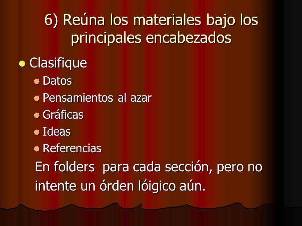 6) Reúna los materiales bajo los principales encabezados Clasifique Clasifique Datos Datos Pensamientos al azar Pensamientos al azar Gráficas Gráficas Ideas Ideas Referencias Referencias En folders para cada sección, pero no En folders para cada sección, pero no intente un órden lóigico aún.