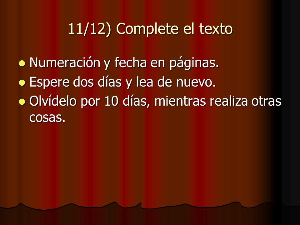 11/12) Complete el texto Numeración y fecha en páginas.