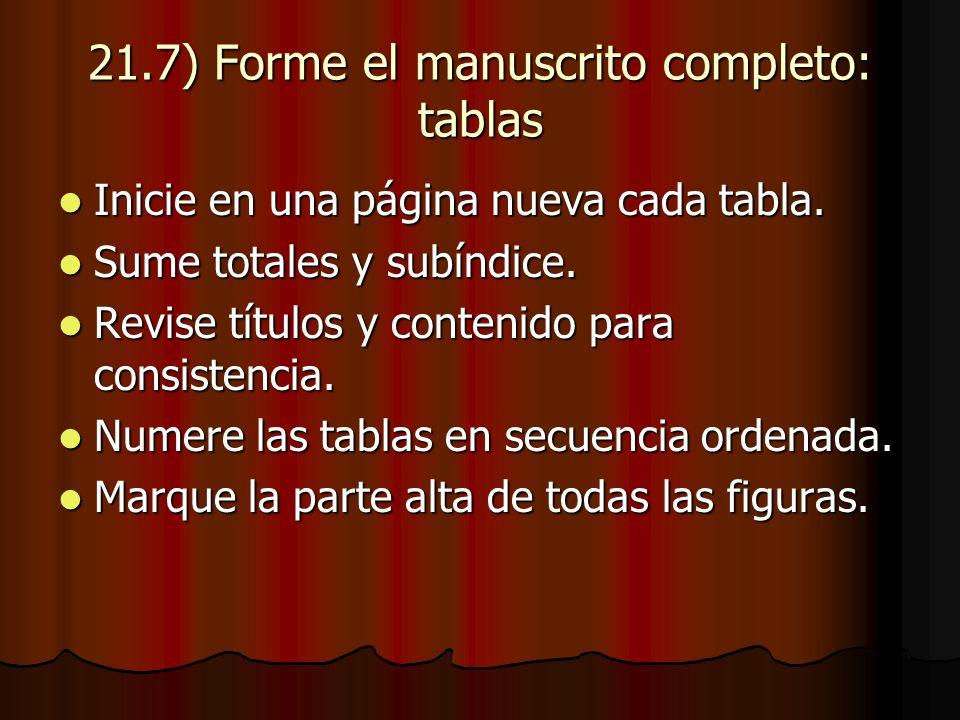21.7) Forme el manuscrito completo: tablas Inicie en una página nueva cada tabla.