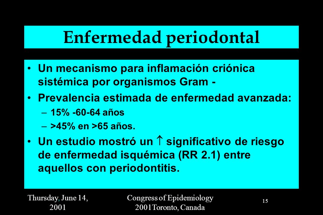 Thursday, June 14, 2001 Congress of Epidemiology 2001Toronto, Canada 15 Enfermedad periodontal Un mecanismo para inflamación criónica sistémica por or