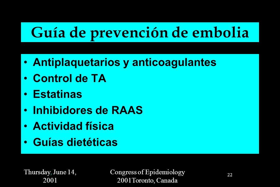 Thursday, June 14, 2001 Congress of Epidemiology 2001Toronto, Canada 22 Guía de prevención de embolia Antiplaquetarios y anticoagulantes Control de TA Estatinas Inhibidores de RAAS Actividad física Guías dietéticas
