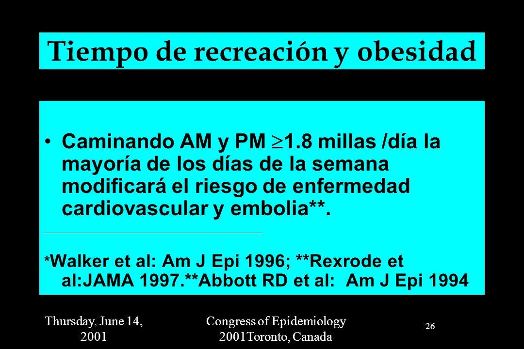 Thursday, June 14, 2001 Congress of Epidemiology 2001Toronto, Canada 26 Tiempo de recreación y obesidad Caminando AM y PM 1.8 millas /día la mayoría de los días de la semana modificará el riesgo de enfermedad cardiovascular y embolia**.