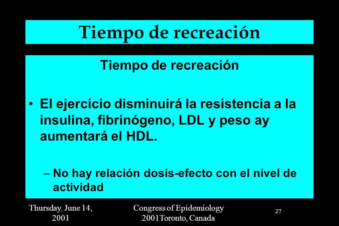 Thursday, June 14, 2001 Congress of Epidemiology 2001Toronto, Canada 27 Tiempo de recreación El ejercicio disminuirá la resistencia a la insulina, fibrinógeno, LDL y peso ay aumentará el HDL.