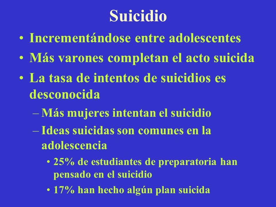 Suicidio Incrementándose entre adolescentes Más varones completan el acto suicida La tasa de intentos de suicidios es desconocida –Más mujeres intenta