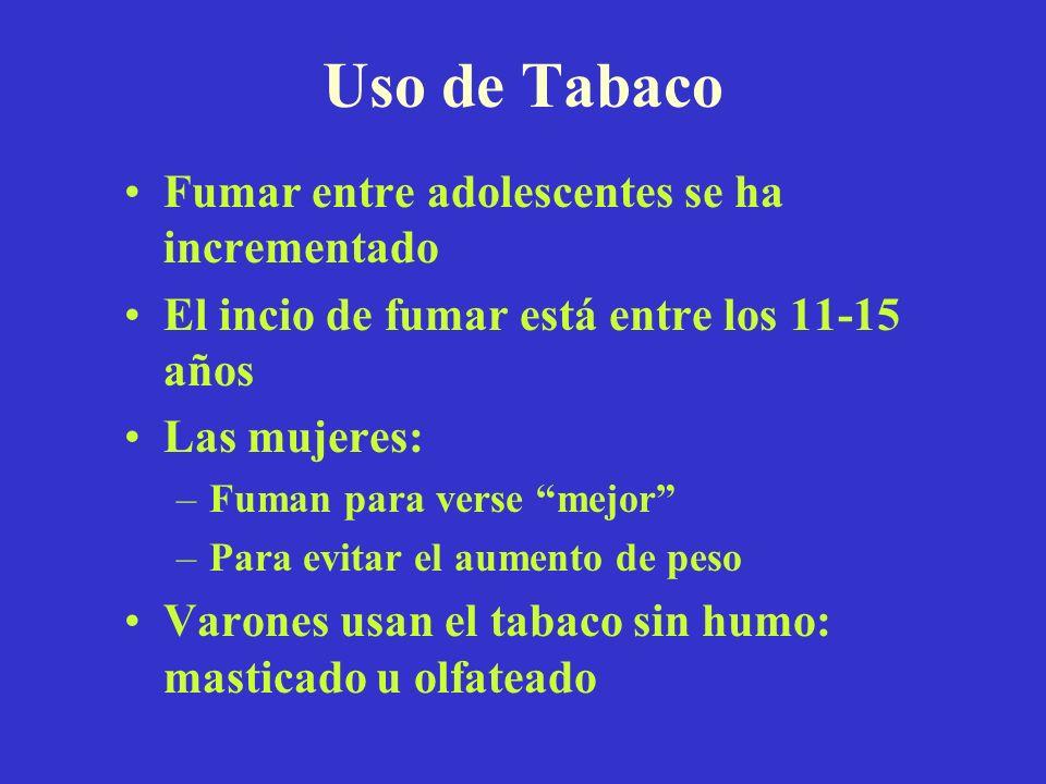 Uso de Tabaco Fumar entre adolescentes se ha incrementado El incio de fumar está entre los 11-15 años Las mujeres: –Fuman para verse mejor –Para evita