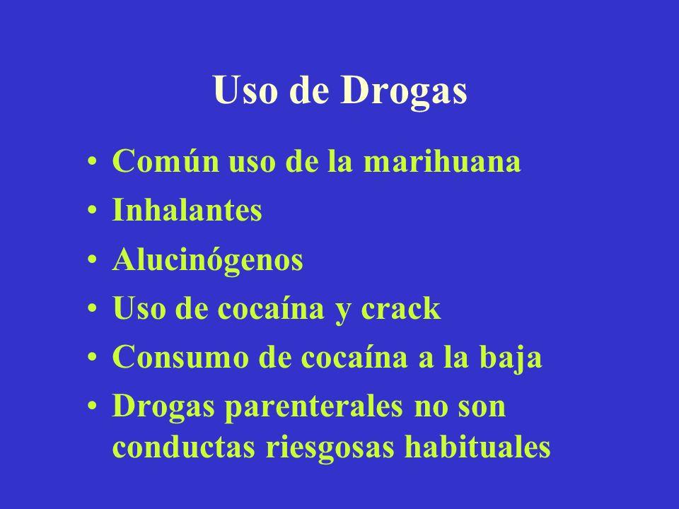Uso de Drogas Común uso de la marihuana Inhalantes Alucinógenos Uso de cocaína y crack Consumo de cocaína a la baja Drogas parenterales no son conduct