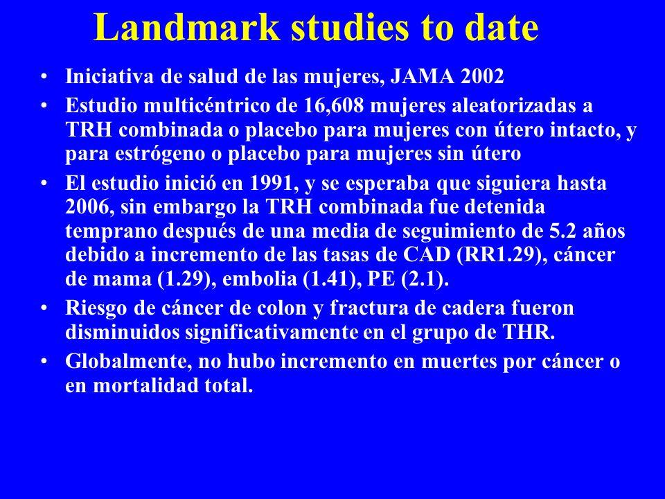 Landmark studies to date Iniciativa de salud de las mujeres, JAMA 2002 Estudio multicéntrico de 16,608 mujeres aleatorizadas a TRH combinada o placebo