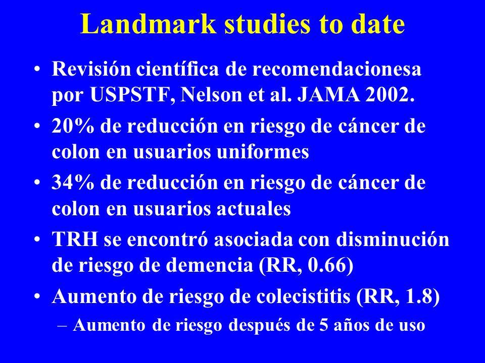 Landmark studies to date Revisión científica de recomendacionesa por USPSTF, Nelson et al. JAMA 2002. 20% de reducción en riesgo de cáncer de colon en