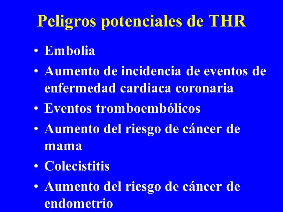Peligros potenciales de THR Embolia Aumento de incidencia de eventos de enfermedad cardiaca coronaria Eventos tromboembólicos Aumento del riesgo de cá