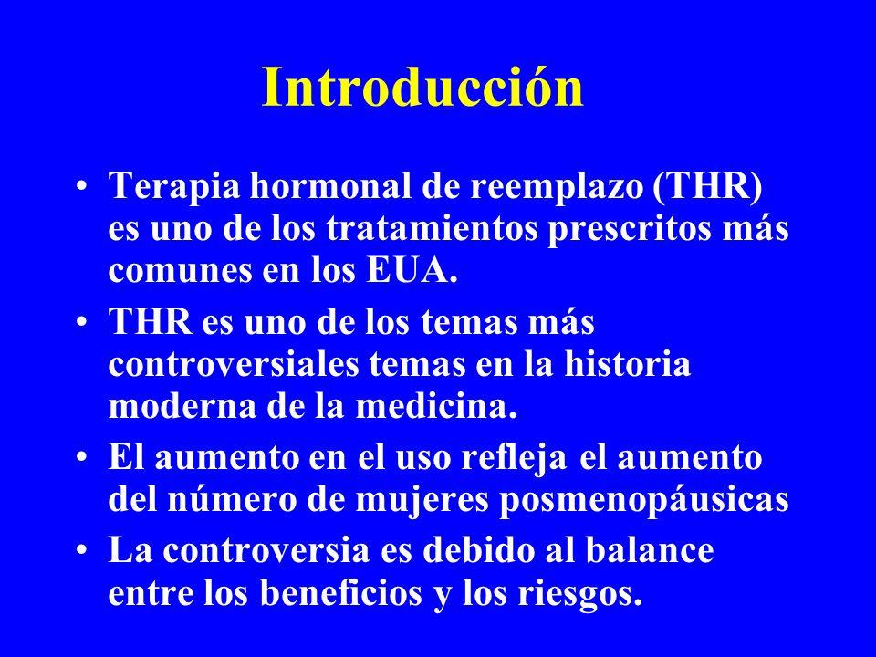 Introducción Terapia hormonal de reemplazo (THR) es uno de los tratamientos prescritos más comunes en los EUA. THR es uno de los temas más controversi