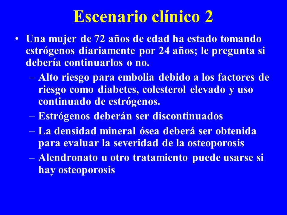 Escenario clínico 2 Una mujer de 72 años de edad ha estado tomando estrógenos diariamente por 24 años; le pregunta si debería continuarlos o no. –Alto