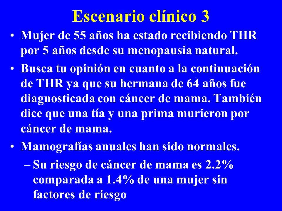Escenario clínico 3 Mujer de 55 años ha estado recibiendo THR por 5 años desde su menopausia natural. Busca tu opinión en cuanto a la continuación de