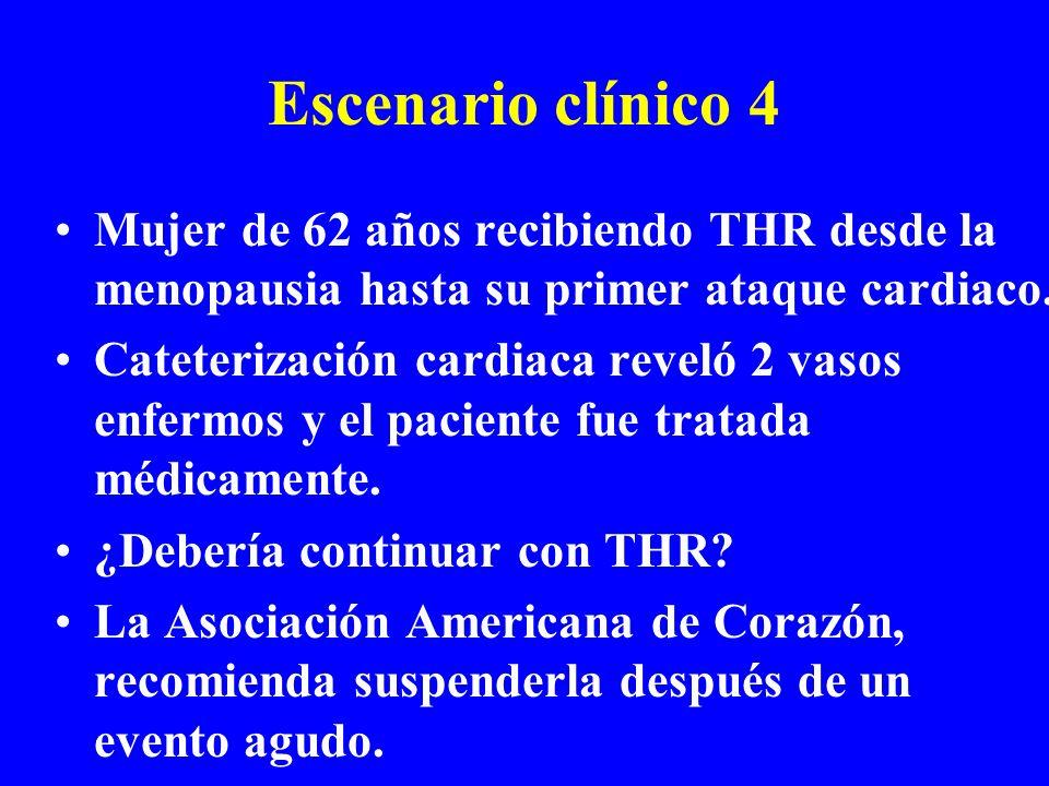 Escenario clínico 4 Mujer de 62 años recibiendo THR desde la menopausia hasta su primer ataque cardiaco. Cateterización cardiaca reveló 2 vasos enferm