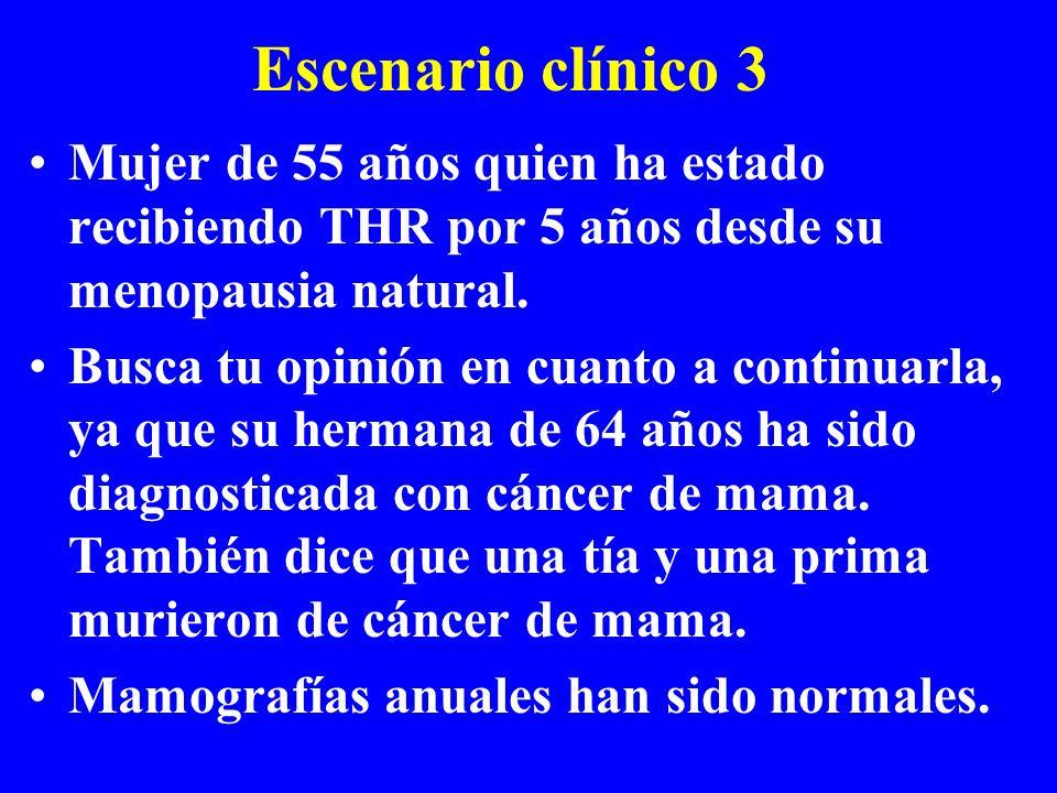 Escenario clínico 3 Mujer de 55 años quien ha estado recibiendo THR por 5 años desde su menopausia natural. Busca tu opinión en cuanto a continuarla,