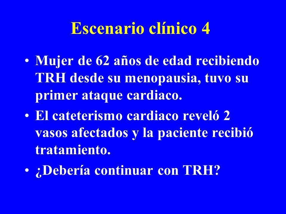 Escenario clínico 4 Mujer de 62 años de edad recibiendo TRH desde su menopausia, tuvo su primer ataque cardiaco. El cateterismo cardiaco reveló 2 vaso