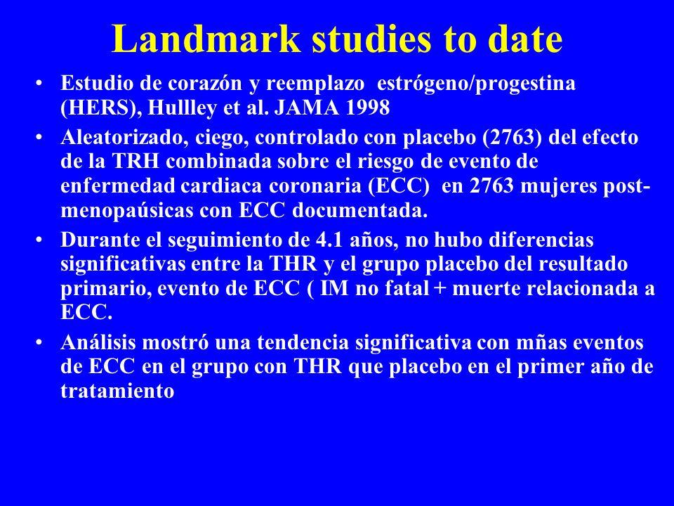 Landmark studies to date Estudio de corazón y reemplazo estrógeno/progestina (HERS), Hullley et al. JAMA 1998 Aleatorizado, ciego, controlado con plac