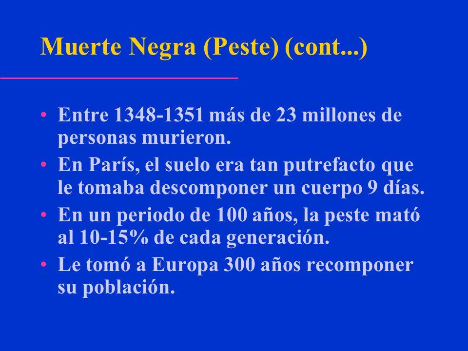 Muerte Negra (Peste) (cont...) Entre 1348-1351 más de 23 millones de personas murieron. En París, el suelo era tan putrefacto que le tomaba descompone